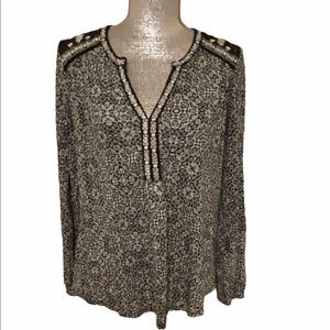 Lucky Brand Boho Embroidered Blouse M